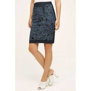 NEW Anthropologie Weston Blue Pencil Skirt Sz XS